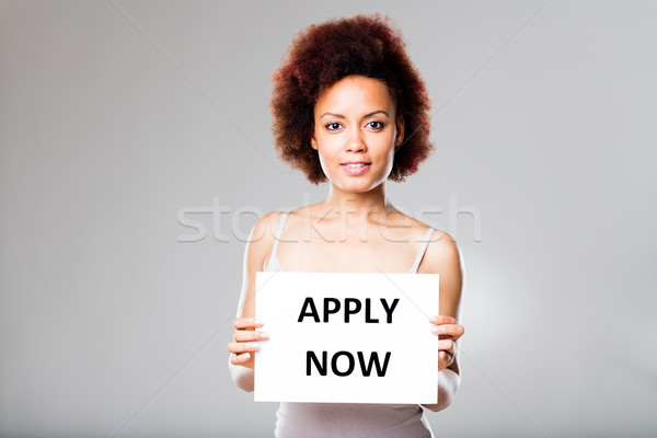 don't be scared and apply now says this woman Stock photo © Giulio_Fornasar