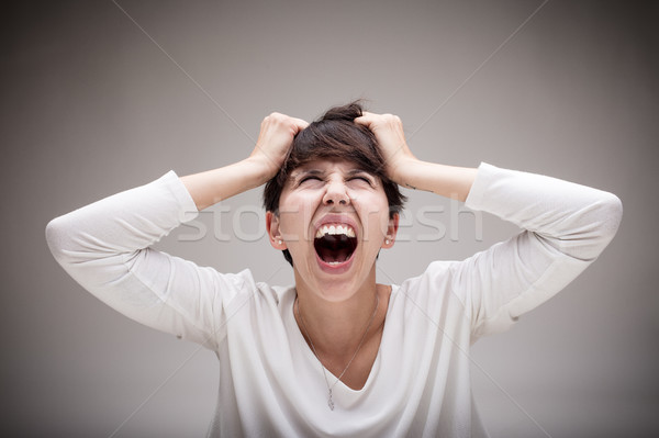 woman being enraged and seeing red Stock photo © Giulio_Fornasar