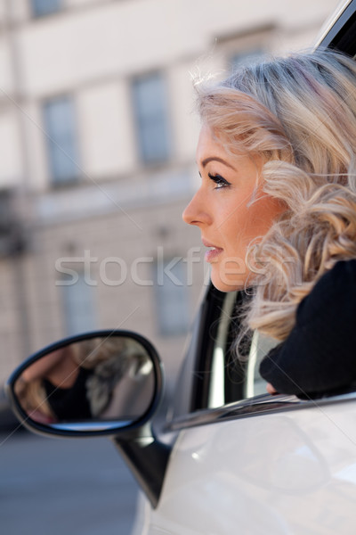 tourist watches something from her car Stock photo © Giulio_Fornasar