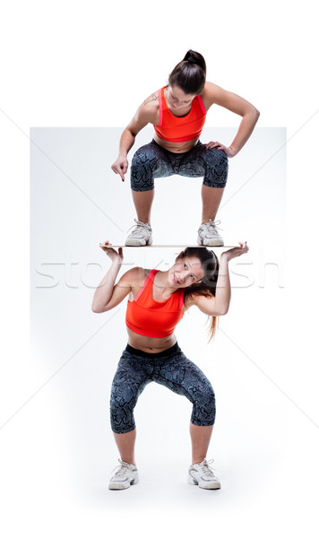 woman pushing herself to the workout limit Stock photo © Giulio_Fornasar