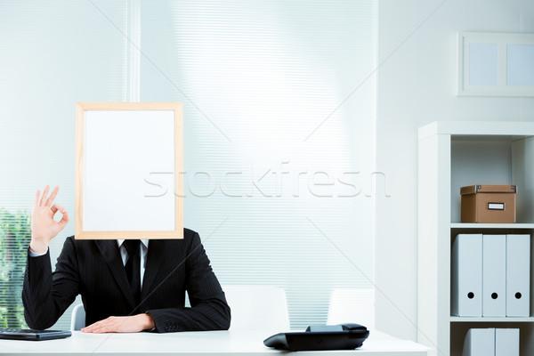 Zakenman fotolijstje gezicht smart pak Stockfoto © Giulio_Fornasar