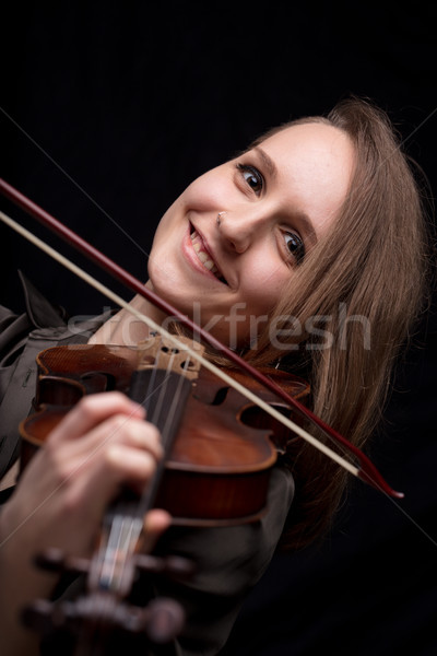 happy woman playing baroque violin Stock photo © Giulio_Fornasar