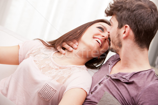 the look of love girl is fond of boy Stock photo © Giulio_Fornasar