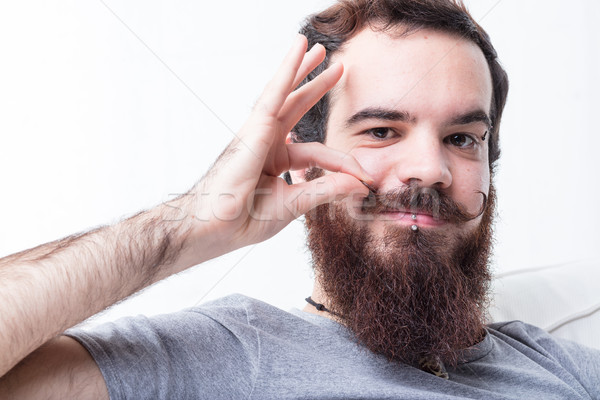 man with beard and mustaches Stock photo © Giulio_Fornasar
