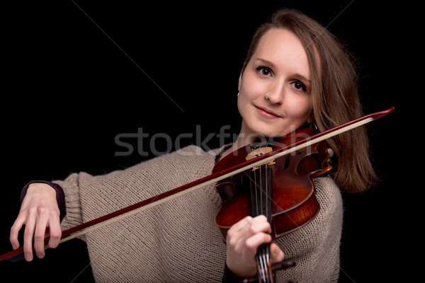 wonderful violinist staring at camera Stock photo © Giulio_Fornasar