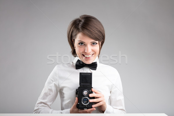 happy photographer in bow tie Stock photo © Giulio_Fornasar