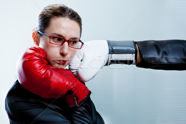 box glove hitting the face of a business woman Stock photo © Giulio_Fornasar