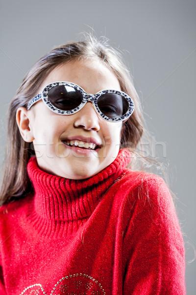 Meisje mode star model meisje Rood Stockfoto © Giulio_Fornasar