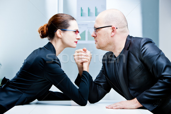 arm wrestling woman VS man Stock photo © Giulio_Fornasar