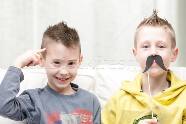 Pár kicsi fiútestvérek készít vicces arcok Stock fotó © Giulio_Fornasar