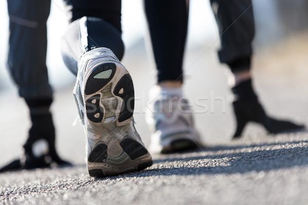 athlete simulating starting blocks on the street Stock photo © Giulio_Fornasar