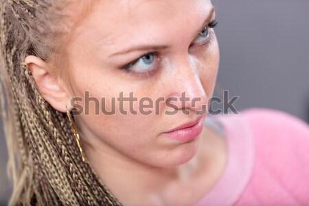 Nő intenzív néz nagy kék szemek szexi Stock fotó © Giulio_Fornasar