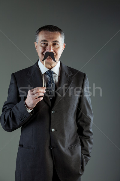 Souriant affaires moustache costume Photo stock © Giulio_Fornasar