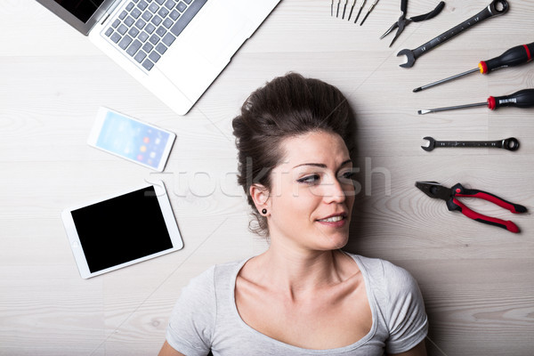 intense look of a woman with digital problems Stock photo © Giulio_Fornasar