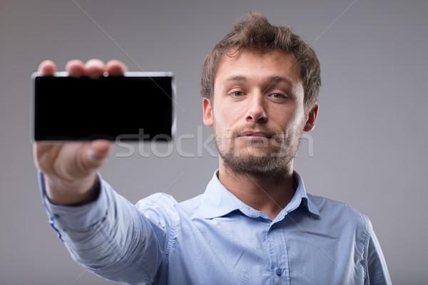 Foto stock: Jovem · barbudo · homem · fora · telefone · móvel