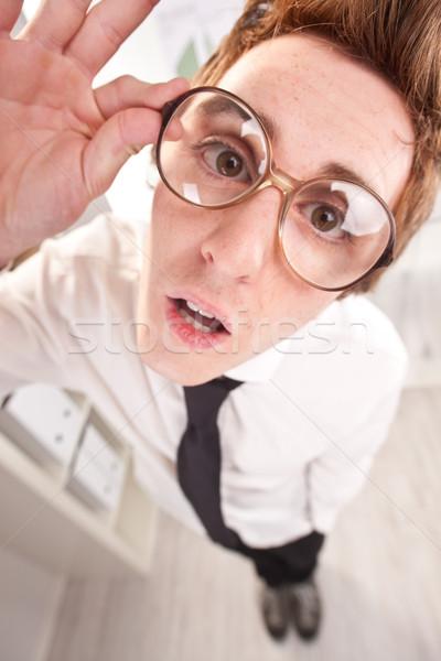 Nagy szemüveg széles látószögű pont kilátás iroda Stock fotó © Giulio_Fornasar