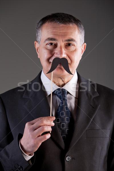old man with carton moustaches Stock photo © Giulio_Fornasar