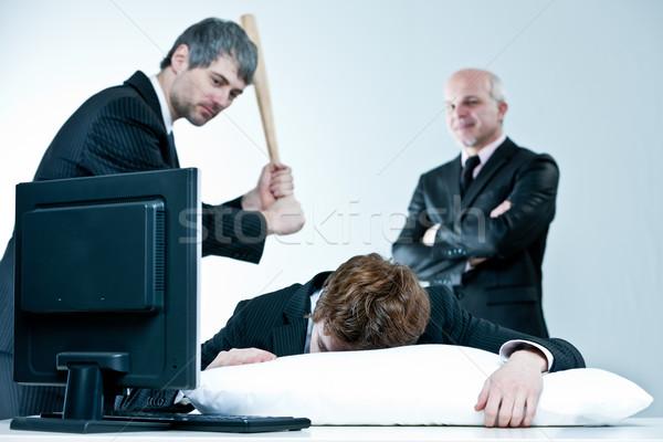 Manager baas ontdekken lui werknemer slapen Stockfoto © Giulio_Fornasar