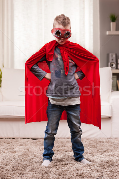 red cloak  kid livingroom superhero Stock photo © Giulio_Fornasar