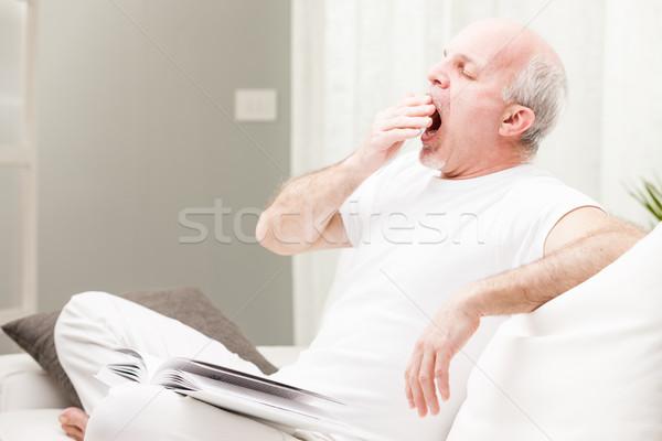 man yawning ready to go to sleep Stock photo © Giulio_Fornasar
