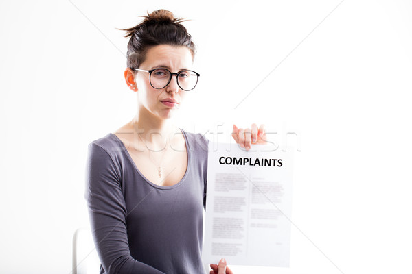 woman showing just received complaints Stock photo © Giulio_Fornasar