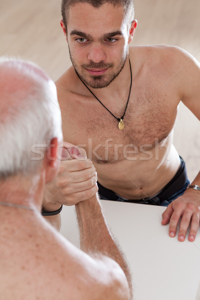 old master challenging young apprentice Stock photo © Giulio_Fornasar