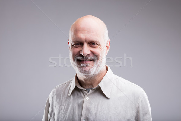 Stock photo: smiling happy bald old man