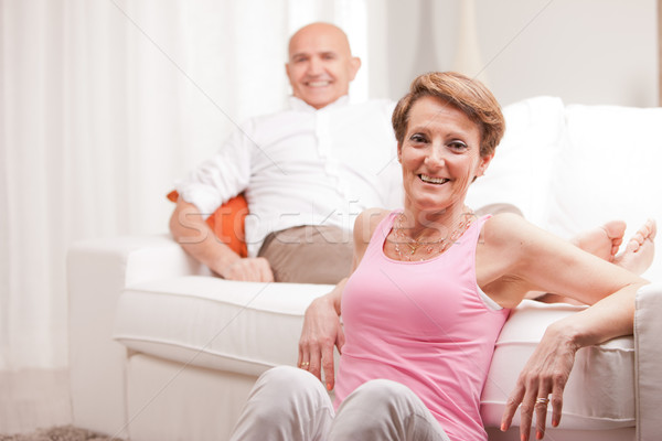 mature couple loving each other at home Stock photo © Giulio_Fornasar