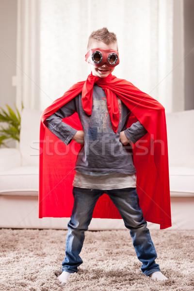 Rood mantel kid woonkamer weinig Stockfoto © Giulio_Fornasar