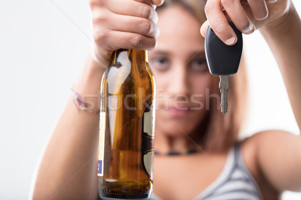 girl asking not to drink and drive Stock photo © Giulio_Fornasar