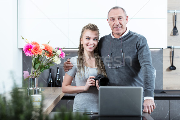 Young woman and elderly man portrait Stock photo © Giulio_Fornasar