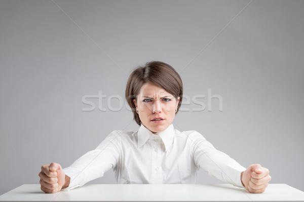 Aversión retrato gris cara femenino enojado Foto stock © Giulio_Fornasar