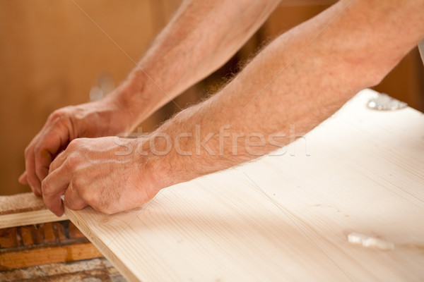 man's hand working on wood Stock photo © Giulio_Fornasar