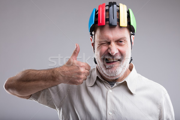 old man with bicicle head protection Stock photo © Giulio_Fornasar