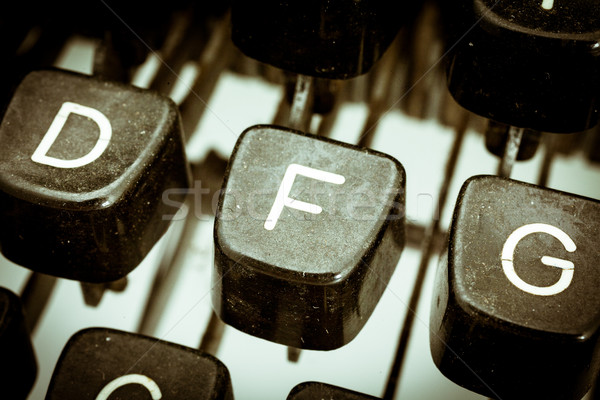 F letter on a vintage typewriter keyboard Stock photo © Giulio_Fornasar