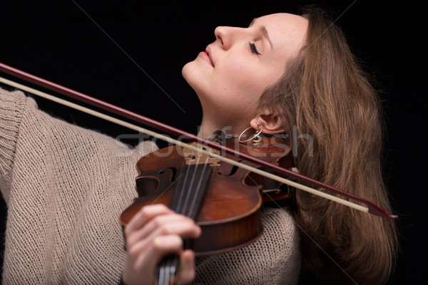 violinist woman playing with closed eyes Stock photo © Giulio_Fornasar
