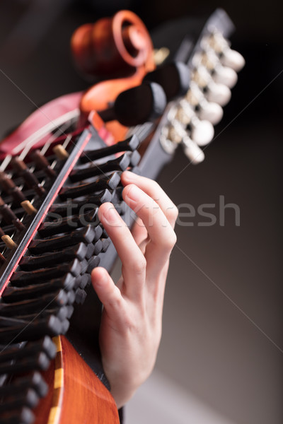 hands on a Baroque musical instrument Stock photo © Giulio_Fornasar