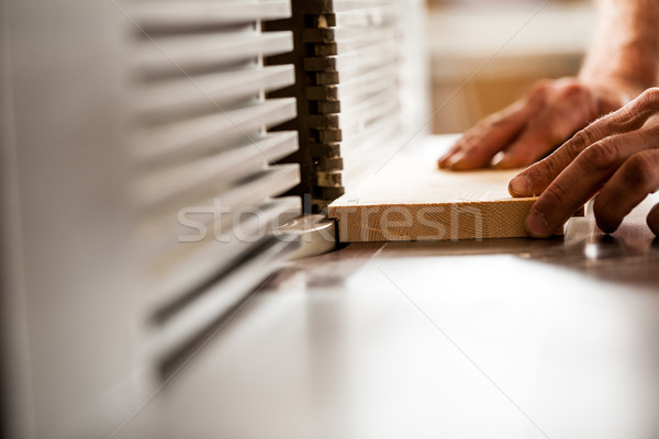 detail of the hands of a woodworker Stock photo © Giulio_Fornasar