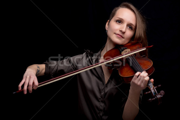 profesional violinist on a black background Stock photo © Giulio_Fornasar
