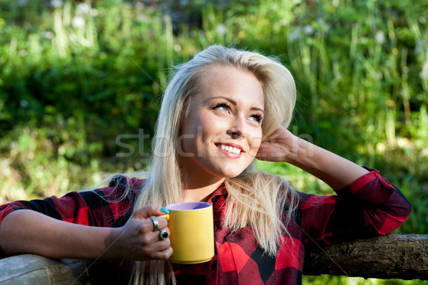 beautiful country blonde girl drinking Stock photo © Giulio_Fornasar