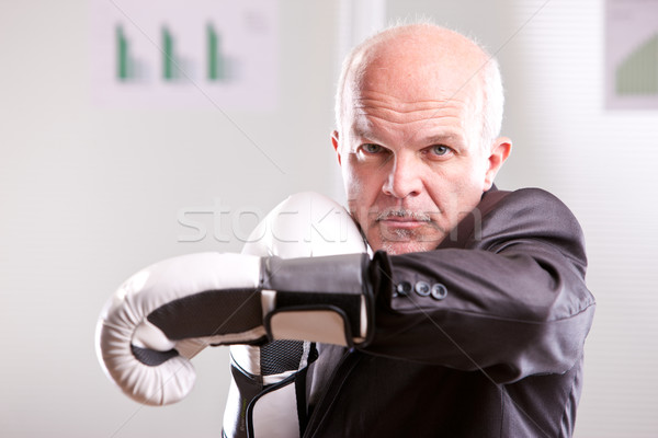 fighting business man upright and ready Stock photo © Giulio_Fornasar