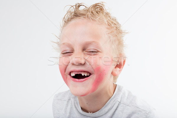 Criança dentes risonho par exatamente meio Foto stock © Giulio_Fornasar
