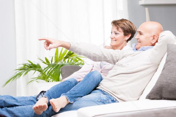 случайный пару расслабляющая домой джинсов Сток-фото © Giulio_Fornasar