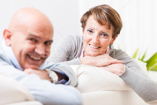 дружественный пару улыбаясь камеры Сток-фото © Giulio_Fornasar