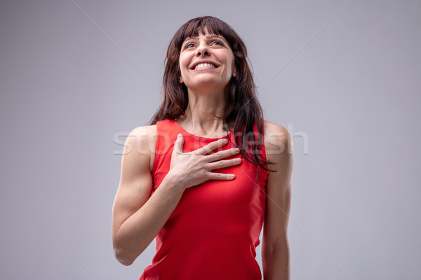 Feliz esperanzado mujer dama amor pie Foto stock © Giulio_Fornasar