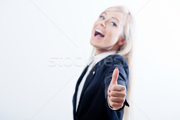 ok woman thumbs up smiling blonde Stock photo © Giulio_Fornasar