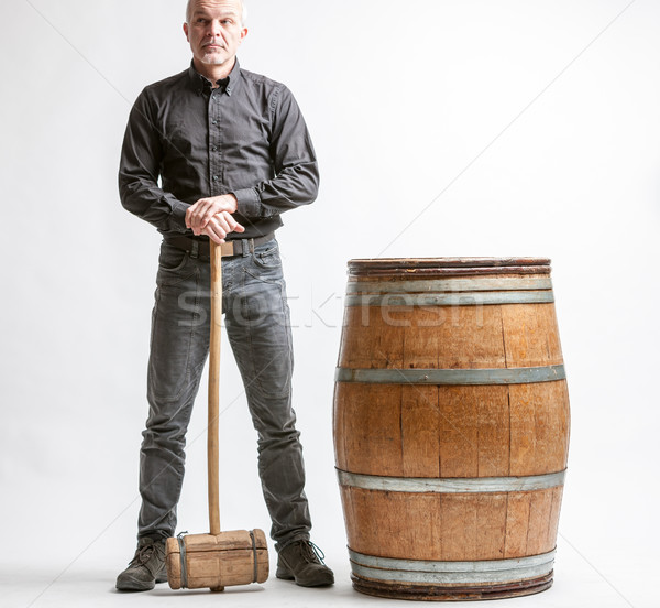 Man with hammer and barrel Stock photo © Giulio_Fornasar