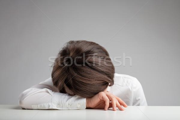 Fatigué épuisé déprimée femme malade Photo stock © Giulio_Fornasar