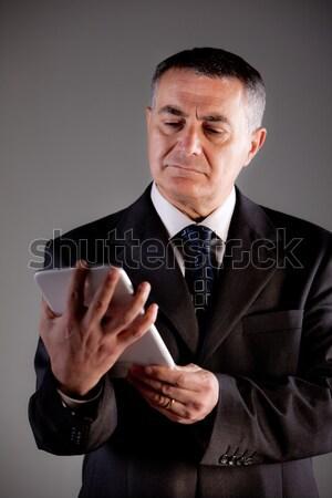 Stock fotó: Férfi · tabletta · öreg · menedzser · elégedettség · üzlet