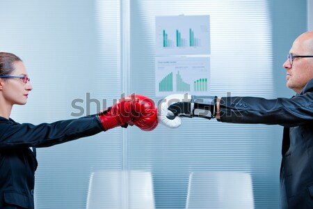 man trying to punch a woman in a box match Stock photo © Giulio_Fornasar